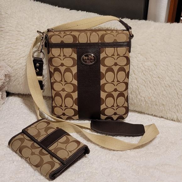 Coach canvas crossbody and wallet
